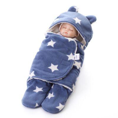 厂家直销 新生儿毛毯襁褓睡袋 婴儿双层全涤印花毛绒襁褓毯批发