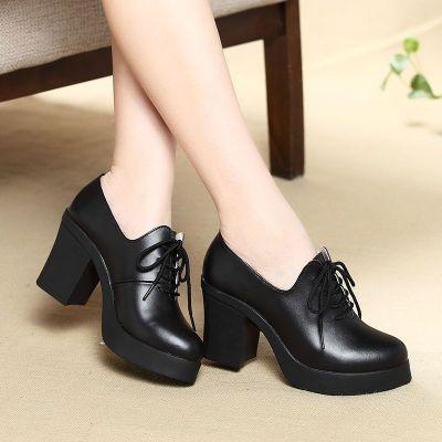 新款秋冬粗跟高跟鞋防水台女单鞋黑色工作鞋中跟鞋女士休闲小皮鞋