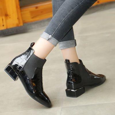 【单棉可选】马丁靴传奇漆皮方头马丁靴女英伦风短靴靴子