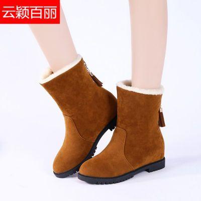 【云颖百丽】雪地靴女款学生韩版平底加绒加厚中筒靴保暖棉鞋靴子