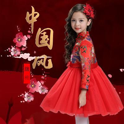 女童旗袍裙秋冬款儿童古筝民族风旗袍连衣裙女孩蓬蓬纱礼服公主裙