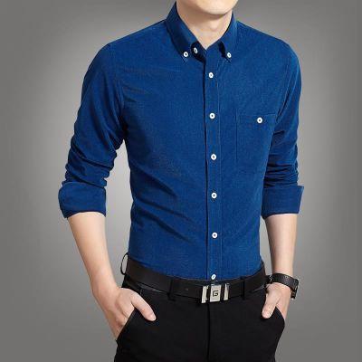 灯芯绒长袖衬衫男士秋季商务修身纯色衣服衬衣中年寸衫爸爸男装白