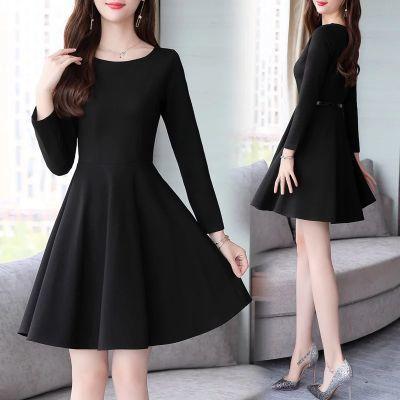 【优质量】连衣裙长袖女黑色秋冬季新款中长款修身收腰显瘦大码裙
