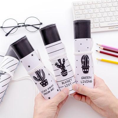 铅笔袋卷笔帘日韩国文具盒男女孩中小学生简约创意帆布笔盒卷笔袋