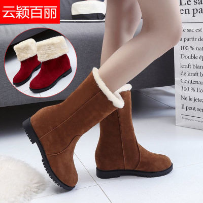 【云颖百丽】雪地靴女冬季学生短靴加绒加厚中筒靴保暖棉鞋女靴子