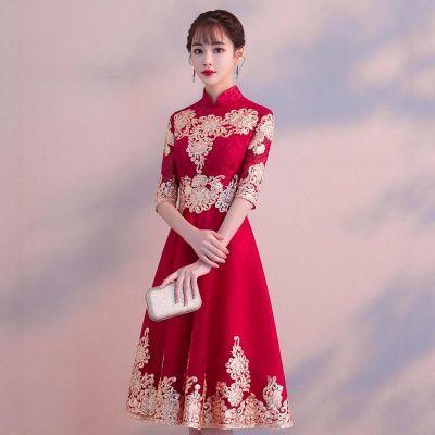 敬酒服新娘夏季2018新款红色孕妇显瘦订婚结婚回门答谢宴礼服春季