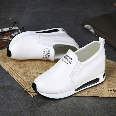 卡玛爱奴乐福鞋子单鞋内增高女鞋休闲松糕坡跟平底厚底韩版小白鞋
