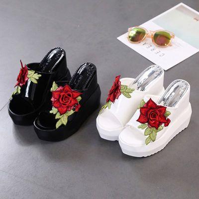 现货夏季坡跟凉拖鞋女新款拖鞋女超高跟鞋厚底松糕跟刺绣花凉鞋女