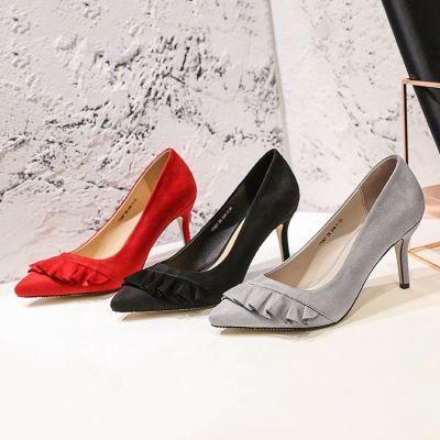 2018欧美时尚尖头单鞋女秋季新款高跟鞋细跟荷叶装饰舒适女鞋百搭