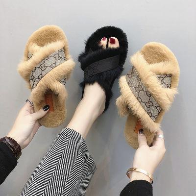 chic欧洲站毛毛拖鞋女秋2018新款韩版外穿时尚百搭ins网红社会鞋