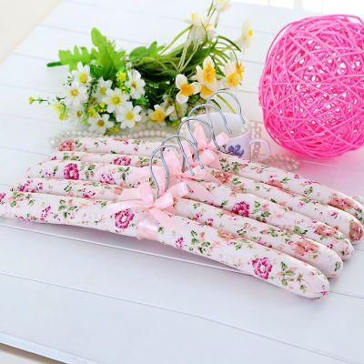 5个装田园粉色碎花布艺衣架 海绵衣挂 衣服架 防滑衣架 防皱衣架