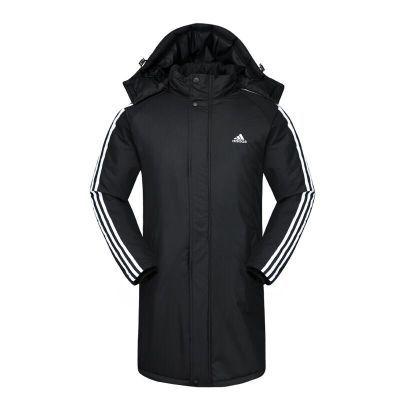 运动棉衣男中长款加厚外套冬季足球训练服户外防风长款运动棉大衣