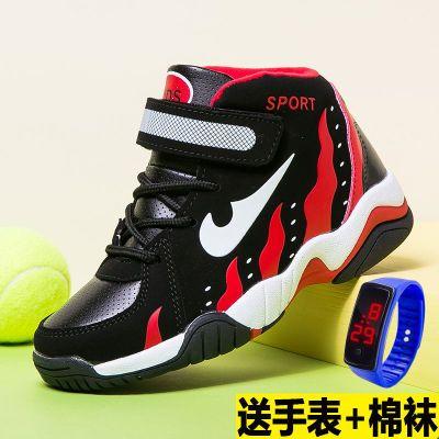 巴布豆男童鞋秋季小学生中大童防水皮面运动鞋男防滑篮球鞋儿童鞋