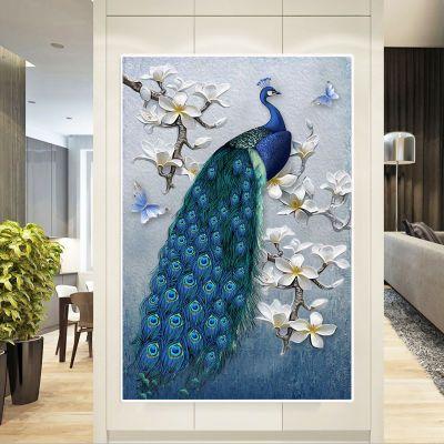 2018新款满钻钻石画5d客厅孔雀贴砖绣粘珠十字绣简约现代点钻石绣