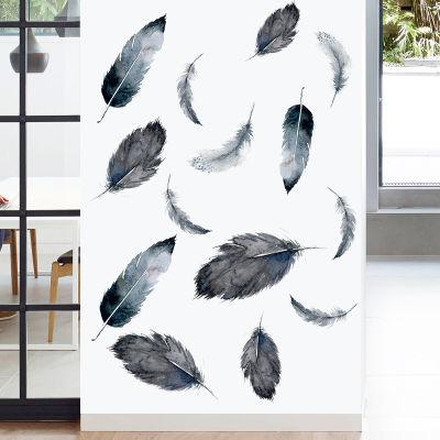 创意羽毛墙贴画墙面客厅房间卧室墙上装饰品床头壁纸自粘墙纸贴纸