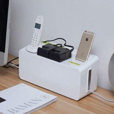 桌面手机充电线插座收纳盒 电源线排插接线板整理盒置物集线器