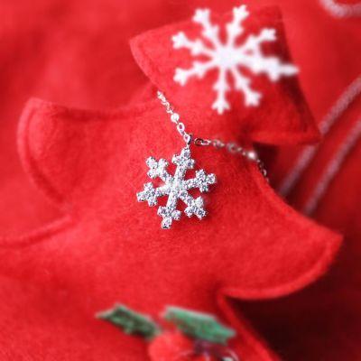 圣诞雪花礼物s925纯银日韩国简约甜美气质学生百搭短款锁骨项链女