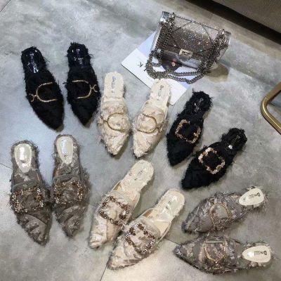 欧洲站2018秋季新款社会女拖鞋尖头包头低跟穆勒鞋水钻方扣半拖潮