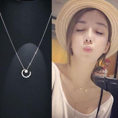 日韩国简约气质星星月亮吊坠s925纯银短款锁骨项链颈链学生礼物女
