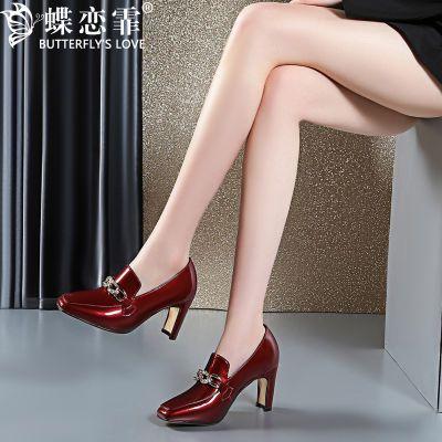 蝶恋霏 真皮水钻单鞋女秋季新款高跟鞋粗跟方头皮鞋女懒人一脚蹬