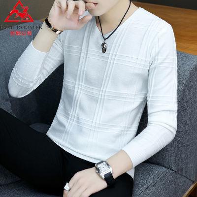 【加绒不加绒可选】芭黎公鸡秋毛衣男长袖T恤韩版修身男士针织衫