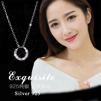 韩国简约甜美创意百搭锆石吊坠s925纯银短款锁骨项链学生日礼物女