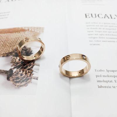 日韩钛钢戒指女玫瑰金情侣对戒指环食指戒男尾戒个性潮刻字饰品
