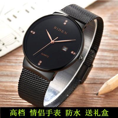 简约韩版情侣手表男钢带防水超薄手表学生日历石英表女士时尚腕表