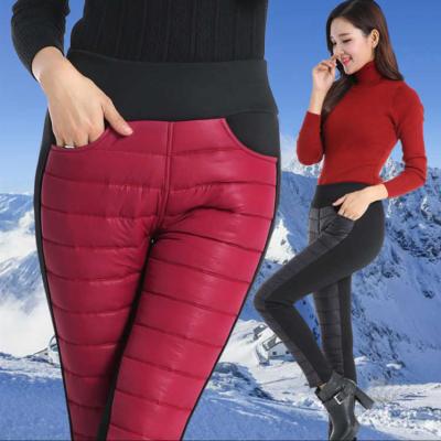 冬季加厚棉裤保暖裤高腰羽绒棉裤女加绒加厚大码保暖妈妈外穿棉裤