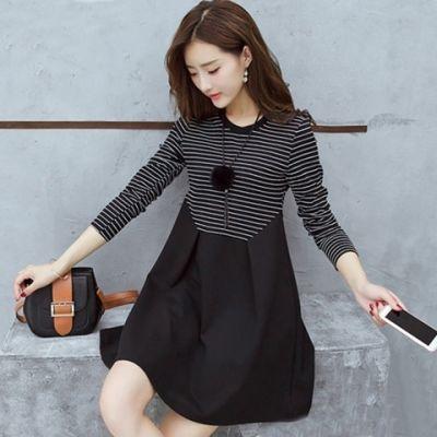 秋季薄款大码宽松舒适时尚女装条纹拼接中长款显瘦A字裙连衣裙