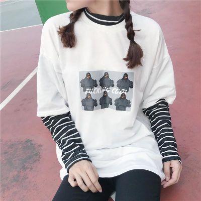 2018春季韩版女装拼接百搭宽松假两件上衣条纹高领学生卫衣长袖潮