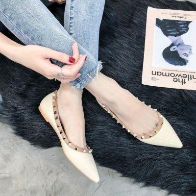 尖头单鞋女浅口平跟柳丁百搭欧美平底鞋子女2018新款女鞋铆钉船鞋