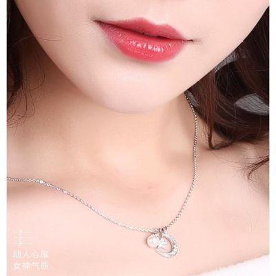 s925纯银星星月牙项链女珍珠吊坠韩版气质时尚一款多戴锁骨链礼物