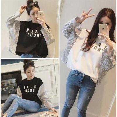 条纹T恤女长袖季拼接假两件上衣韩版宽松套头袖卫衣学生