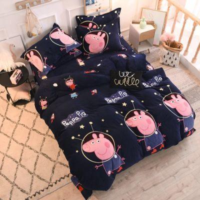 水洗双人中国风米床单人卡通拉舍尔双面米床水洗棉红法莱绒四件套