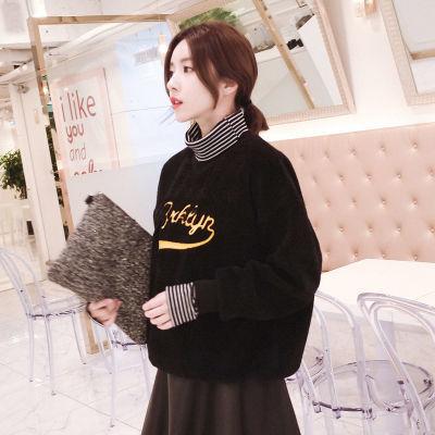 羊羔摇粒绒加绒加厚拼接条纹高领宽松套头学生女款卫衣 假两件