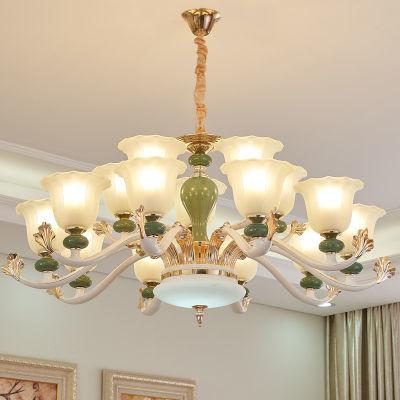欧式客厅水晶吊灯家用现代简约卧室锌合金陶瓷款8头创意餐厅灯具