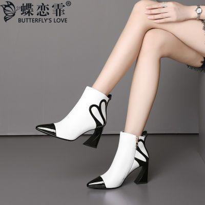 蝶恋霏秋季尖头粗跟单鞋女时尚欧美撞色气质真皮女鞋侧拉链高跟