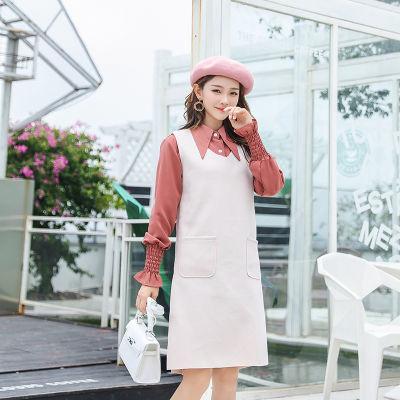 2018秋冬新款韩版中长款两件套连衣裙毛呢无袖背心裙+衬衫套装