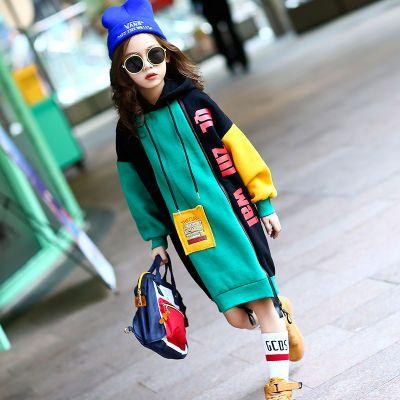 女童卫衣秋冬装加绒加厚打底衫2018新款韩版中大童长款套头衫潮衣