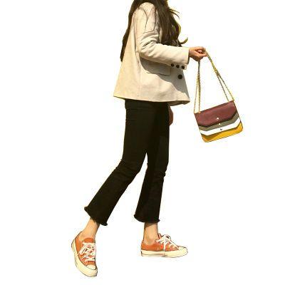 2018春秋新款韩版黑色微喇叭牛仔裤女九分毛边阔腿修身显瘦喇叭裤