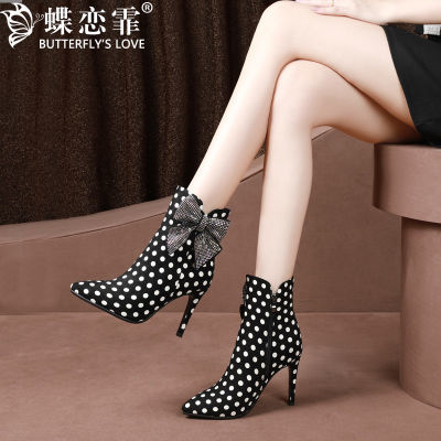 蝶恋霏高跟鞋冬季女百搭性感蝴蝶结磨砂皮短靴细跟尖头女靴水钻
