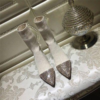 欧美新款秋冬中筒弹力毛线针织袜靴子细跟尖头袜子女鞋中跟短靴女