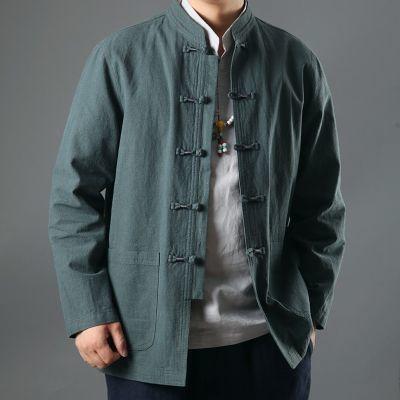 春秋唐装男套装中老年长袖亚麻衬衫中式大码爸爸装休闲中国风汉服