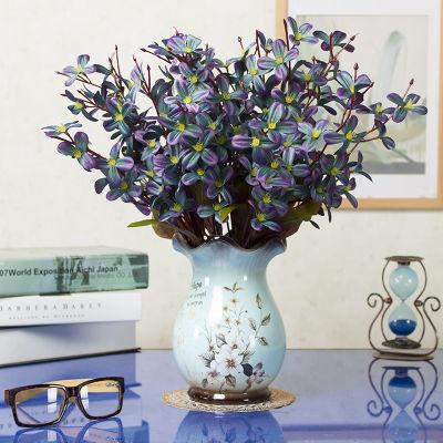 欧式仿真花束玫瑰绢花套装摆件客厅室内装饰摆件餐桌塑料假花干花