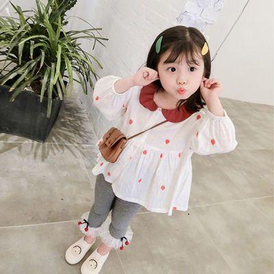 女童棉麻娃娃衫2018秋装新款宝宝长袖上衣洋气公主韩版荷叶领衬衫