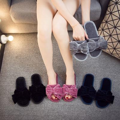 惟今女鞋网红毛毛拖鞋女新款韩版室内居家秋冬季一字拖平底棉拖鞋