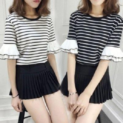 新款韩版百搭条纹拼接雪纺半袖韩范宽松显瘦短袖t恤女潮