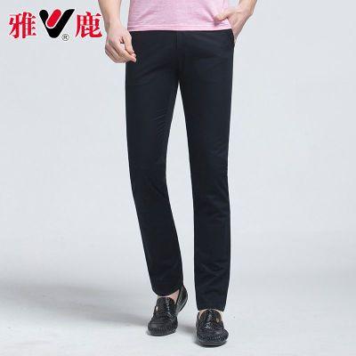 【雅鹿正品】2018新款男士修身百搭时尚纯色商务男裤直筒薄裤子