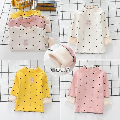 儿童韩版可爱女童秋冬中小女童T恤宝宝长袖加绒打底衫2-5岁上衣潮